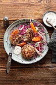 Game meatballs with red cabbage salad