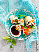 Prawn and almond rice paper rolls