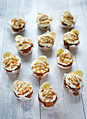 Banoffee muffins with cream and salted caramel