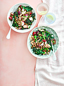 Getreidesalat mit Lachs und Purple Sprouting Broccoli
