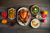 Roast turkey with orange glaze and side dishes