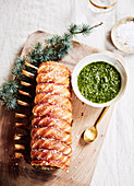 Fennel and sage roast pork with parsley sauce