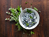 Blueberry salad with mint