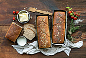 Homemade bread on a rustic wooden background
