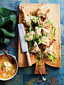 White cut chicken with spring onion dressing