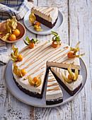 Swedish cake kladdkaka with caramel