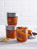 Sweet carrot and lemon chutney with ginger