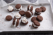 Vegan chocolate biscuits with a vanilla cream filling