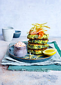 Cream cheese and spinach fritters and salmon cream