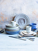 Blue earthenware crockery