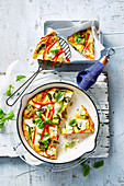 Vegetarian capsicum and ricotta frittata