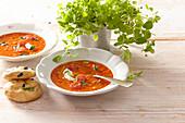 Tomaten-Gazpacho mit selbst gebackener Focaccia