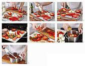 Tomato gazpacho being made