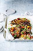 Vegan Sumac roasted eggplant with orange tumeric Yoghurt