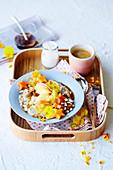 Vegan Bircher muesli bowl