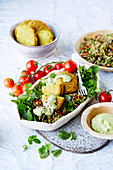 Vegan freekeh tabbouleh with pea falafel