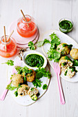 Vegan broccoli arancini with rocket and almond pesto