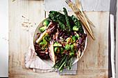 Warm winter salad with honey balsamic dressing