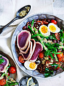 Seared tuna and quinoa Nicoise salad
