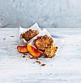 Peach and ginger crumble muffins