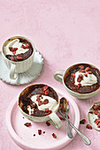 Cherry ripe molten microwave puddings