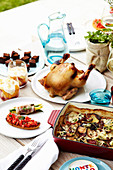Summer menu with roasted beer-can chicken