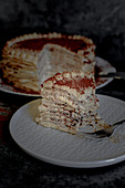 Pancake cake with mascarpone coffee cream
