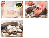 Preparing sausage meat dumplings