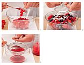 Preparing marinated mixed berries