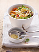 Pasta salad with vegetables and oriental mushrooms