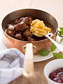 Venison ragout with Swabian egg noodles