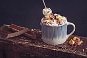 Hot chocolate, cream, honeycomb, chocolate, cinnamon
