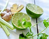 Lime, coriander, ginger, celery