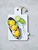 Mango macadamia ice-cream
