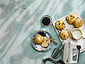 Fruit scones with blackberry apple jam and coconut cream