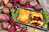 Beetroot and sweet potato pasties