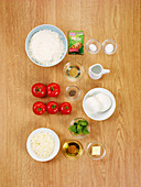 Ingredients for pizza margherita