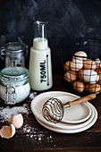 Baking set with cream, milk, flour, eggs and sugar