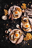Waffles with ricotta mushrooms and fried egg