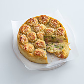 Potato cake with courgette and ham