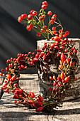 Herz aus Zweigen und Hagebutten an Birkenstamm gelehnt