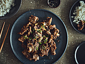 Bulgogi cooked on a gas grill