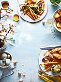 Osterlunch mit Lamm, Gemüse und Yorkshirepudding