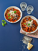 Healthy, pasta arrabbiata with aubergine