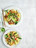 Hoisin-Ente mit Gemüse und Nudeln (China)