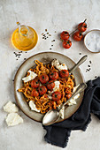 Pasta with roasted tomatoes and mozzarella