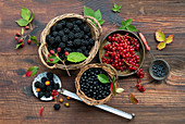 Still life with blackberries, blueberries and currants