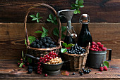 Still life with blackberries, currants, blueberries and raspberries