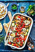 Cod baked with veggies