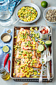 Baked salmon awith mango and avo salsa